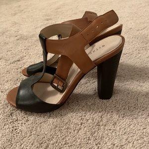 Wythe NY leather t-strap heeled sandal 7.5 worn 1x